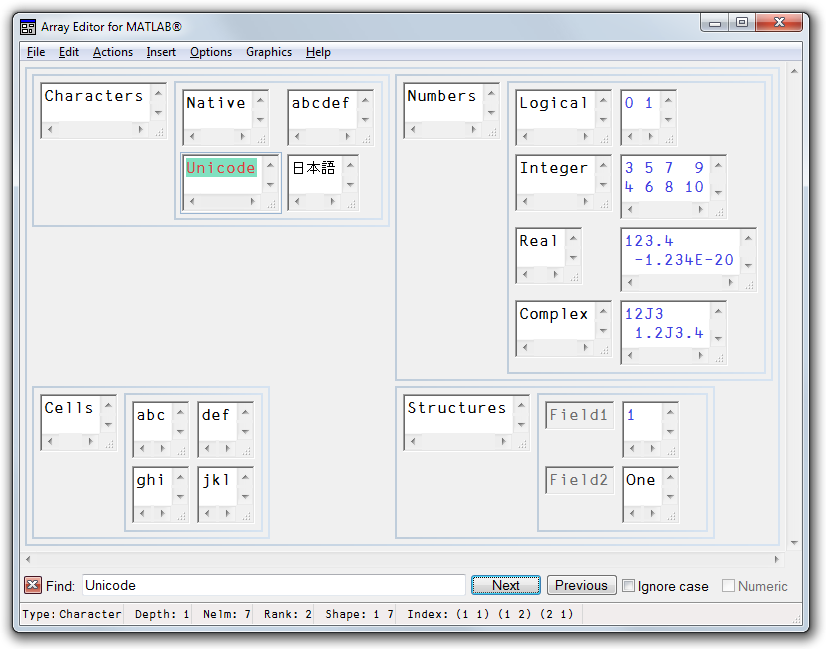 Picture of Array Editor with sample data